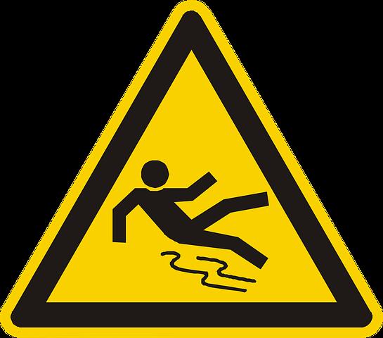 Fall hazards - slippery floor
