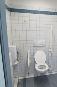 Wash room with grab bars
