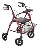 Rollator with seat and busket